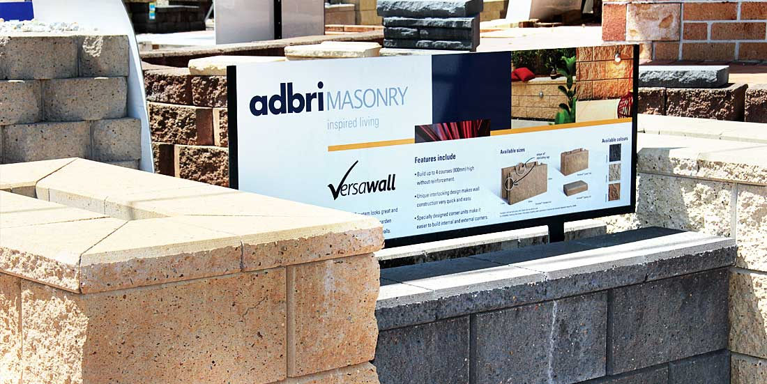 bricks and paver display